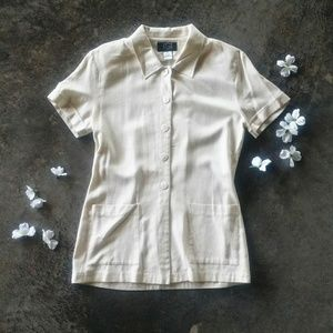 Vintage Raw Silk Ivory Button Front Top M
